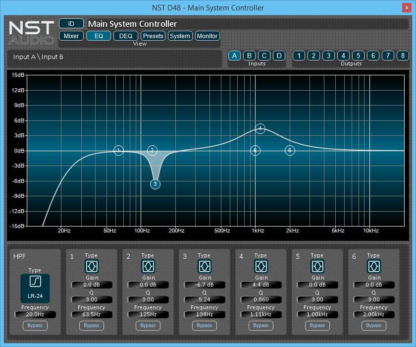 NST Software D48 Parametric EQ Display